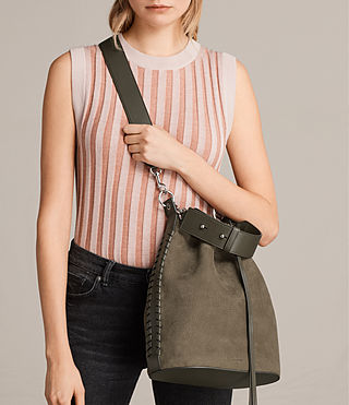 Womens Ray Nubuck Bucket Bag (MINK GREY) - Image 2