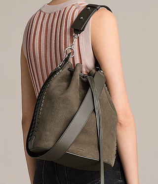 Womens Ray Nubuck Bucket Bag (MINK GREY) - Image 3