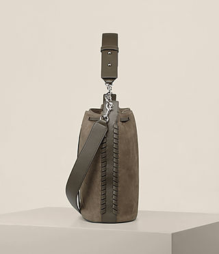 Womens Ray Nubuck Bucket Bag (MINK GREY) - Image 5