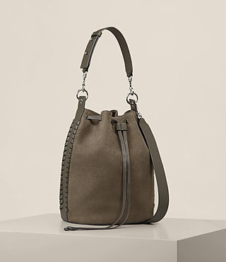 Womens Ray Nubuck Bucket Bag (MINK GREY) - Image 7