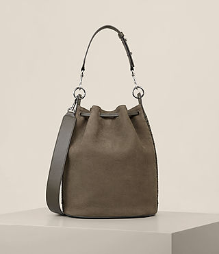 Womens Ray Nubuck Bucket Bag (MINK GREY) - Image 9