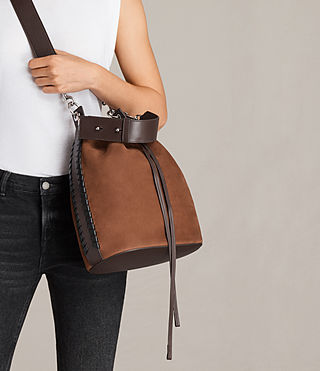 Women's Ray Nubuck Bucket Bag (COFFEE BROWN) - Image 3
