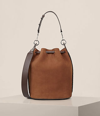 Women's Ray Nubuck Bucket Bag (COFFEE BROWN) - Image 8