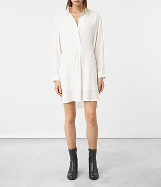 Mujer Alex Silk Shirt Dress (Chalk White) -