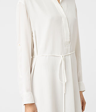 Mujer Alex Silk Shirt Dress (Chalk White) - product_image_alt_text_2