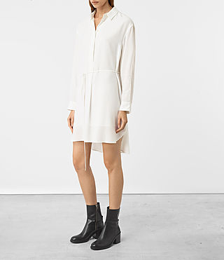 Mujer Alex Silk Shirt Dress (Chalk White) - product_image_alt_text_3