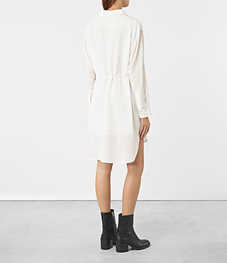 Womens Alex Silk Shirt Dress (Chalk White) - product_image_alt_text_4
