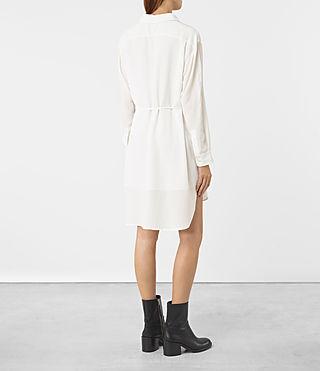 Mujer Alex Silk Shirt Dress (Chalk White) - product_image_alt_text_4