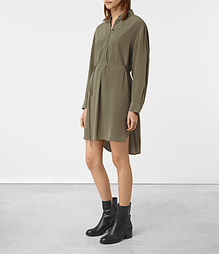 Femmes Alex Silk Shirt Dress (Light Khaki Green) -