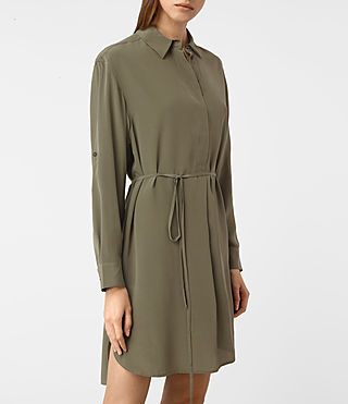 Femmes Alex Silk Shirt Dress (Light Khaki Green) - product_image_alt_text_2