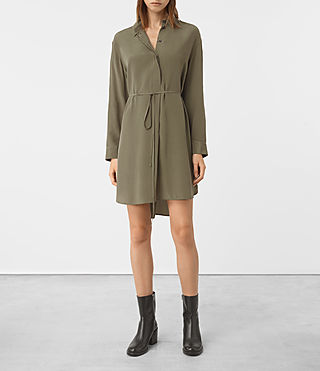 Femmes Alex Silk Shirt Dress (Light Khaki Green) - product_image_alt_text_3