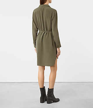 Femmes Alex Silk Shirt Dress (Light Khaki Green) - product_image_alt_text_4
