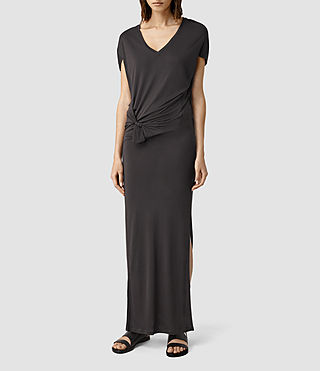 Womens Dhara Long Dress (COAL BLACK)
