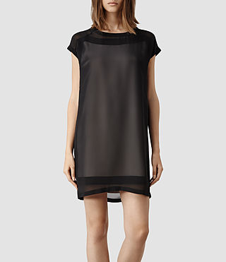 Womens Myrthe Dress (Oyster/Black)