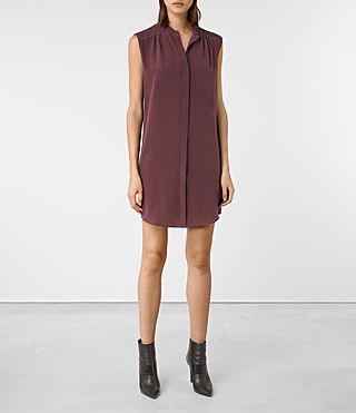 Womens Sirius Silk Dress (Damson)