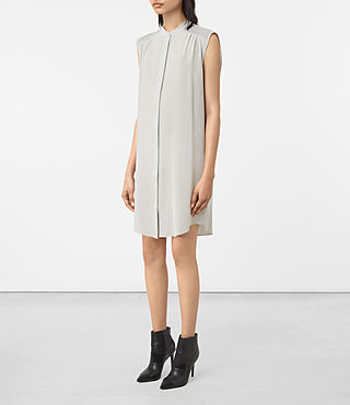 Women's Sirius Silk Dress (STORM GREY) - product_image_alt_text_3