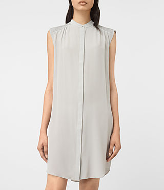 Women's Sirius Silk Dress (STORM GREY) - product_image_alt_text_4