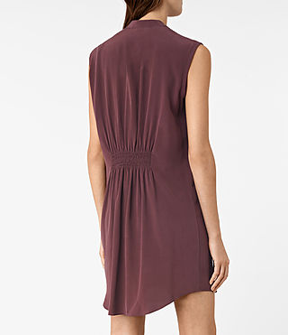 Mujer Sirius Silk Dress (Damson Red) - product_image_alt_text_2