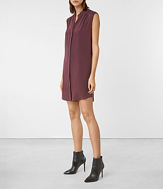 Mujer Sirius Silk Dress (Damson Red) - product_image_alt_text_3