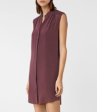 Mujer Sirius Silk Dress (Damson Red) - product_image_alt_text_4