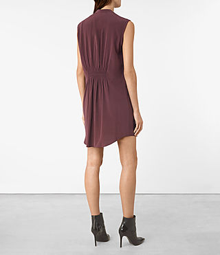 Mujer Sirius Silk Dress (Damson Red) - product_image_alt_text_5