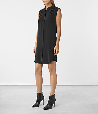 Mujer Sirius Silk Dress (Black) - product_image_alt_text_2
