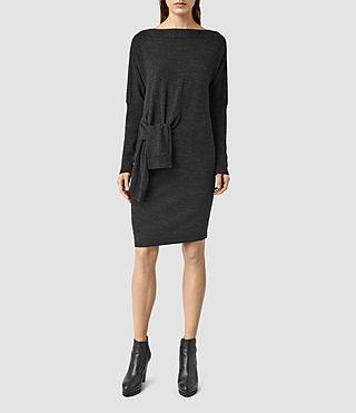 Womens Knot Dress (CinderBlackMarl)