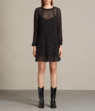 Mujer Star Embroidered Dress (Black)