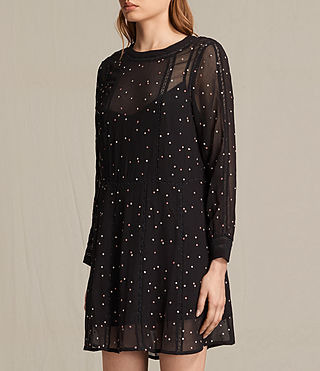Women's Star Embroidered Dress (Black) - product_image_alt_text_3