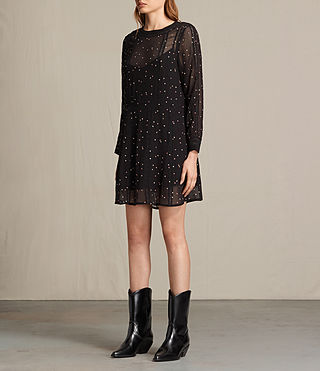 Women's Star Embroidered Dress (Black) - product_image_alt_text_5