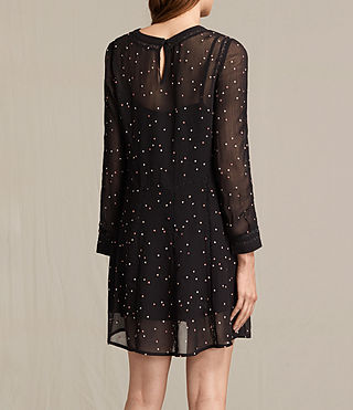 Women's Star Embroidered Dress (Black) - product_image_alt_text_7