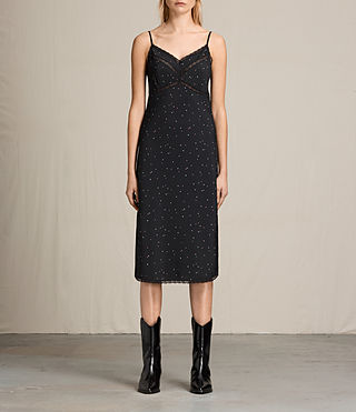 Womens Star Print Slip Dres (Black)