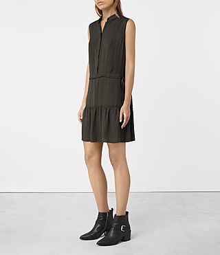 Womens Lin Dress (Dark Khaki Green)