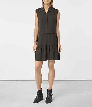 Femmes Lin Dress (Dark Khaki Green) - product_image_alt_text_4