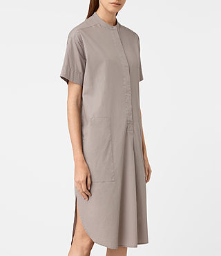 Damen Alexa Shirt Dress (Chrome Grey)