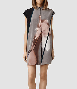 Womens Giovia Disperse Shirt Dress (Silver Nude)