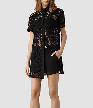 Womens Pip Shirt Dress (Black) - product_image_alt_text_1