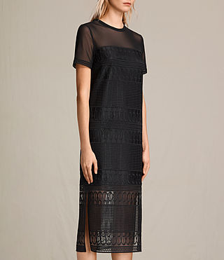 Womens Charlton Long Lace Dress (Black) - product_image_alt_text_1