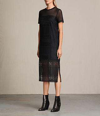 Womens Charlton Long Lace Dress (Black) - product_image_alt_text_5