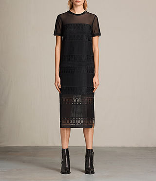 Womens Charlton Long Lace Dress (Black) - product_image_alt_text_6