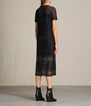 Womens Charlton Long Lace Dress (Black) - product_image_alt_text_7