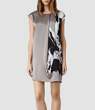 Womens Rip It Up Pleat Dress (Silver)