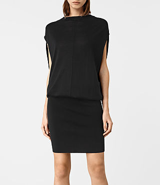 Women's Dornie Merino Dress (Black) - product_image_alt_text_3