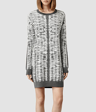 Womens Folds Jumper Dress (Slate/Porcelain)
