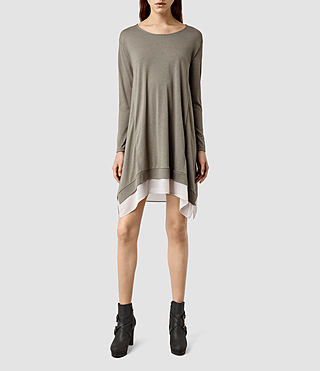Womens Arya Long Sleeve Dress (CLF GR MRL/STN GRY)