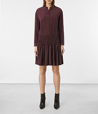 Damen Briar Silk Dress (Damson Red) -
