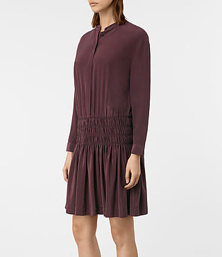 Damen Briar Silk Dress (Damson Red) - product_image_alt_text_3