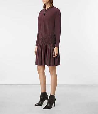 Damen Briar Silk Dress (Damson Red) - product_image_alt_text_4