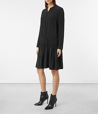 Womens Briar Silk Dress (Black) - product_image_alt_text_4