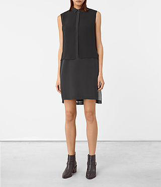 Femmes Radial Sleeveless Silk Dress (Black)